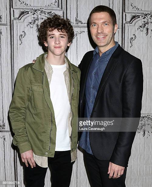 Art Parkinson and Travis Knight attend AOL Build Presents to discuss Kubo and the Two Strings at AOL HQ on August 17 2016 in New York City