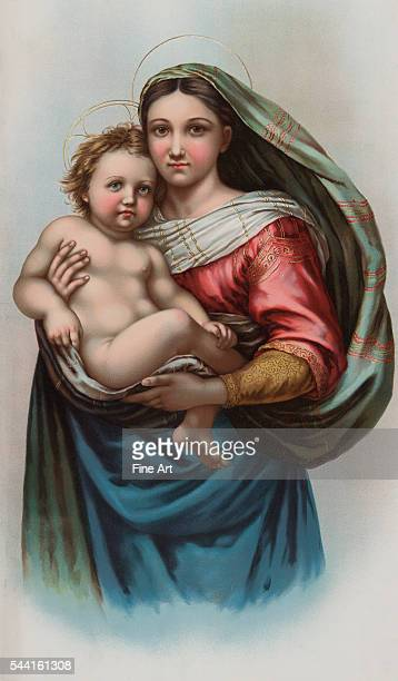 Art reproduction of Raphael's Sistine Madonna, offered as a premium by B.T. Babbitt, soap and baking powder company of New York. 1898. 71 x 35 cm.