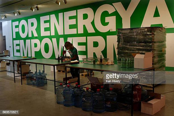 Art review installation views of Superflex/Guarana Power a show set up like a home soft–drink bottling operation at Gallery at REDCAT Disney Concert...