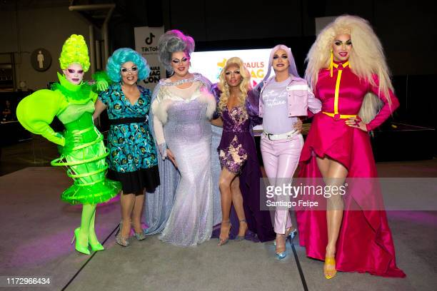 Art Simone Mrs Kasha Davis Nina West Serena Cha Cha Cynthia Lee Fontaine and Brooke Lynn Hytes attend RuPaul's DragCon 2019 at The Jacob K Javits...