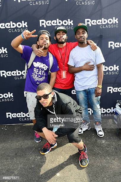 Art Sims Anthony Coleman YS the DJ and Andre Murphy visit the Reebok booth during the 7th Annual Roots Picnic at Festival Pier at Penn's Landing on...