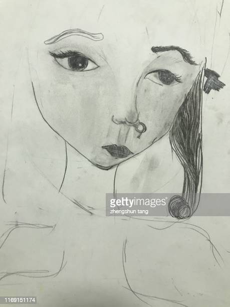 art sketch view of young girl. - fine art portrait stock pictures, royalty-free photos & images