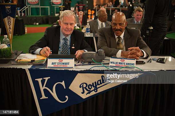 Art Stewart and Willie Mays Aikens are seen during the 2012 FirstYear Player Draft Monday June 4 at MLB Network's Studio 42 in Secaucus New Jersey