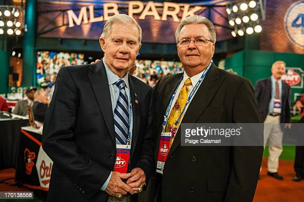 Art Stewart poses with Freddie Patek during the 2013 FirstYear Player Draft at MLB Network's Studio 42 on June 6 2013 in Secaucus New Jersey