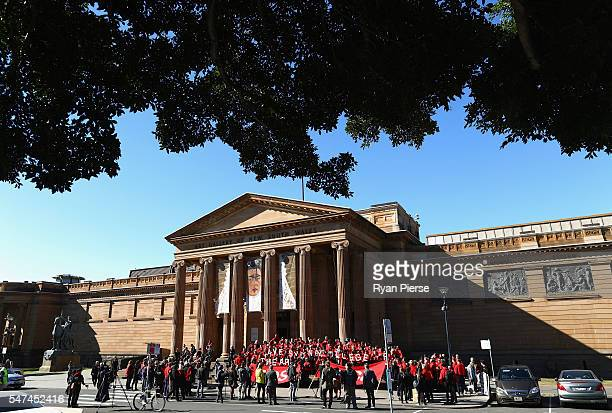 Art students and protesters gather at the Gallery of NSW on July 15 2016 in Sydney Australia Sydney students are rallying against the closure of the...