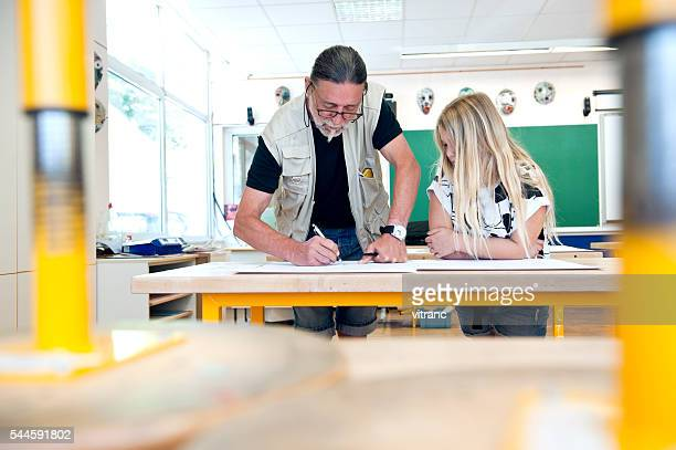 Art teacher and his pupil