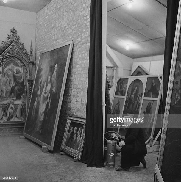 Art treasures from the National Gallery are moved to Manod Quarry slate caverns in Merionethshire Wales for safekeeping during World War II September...