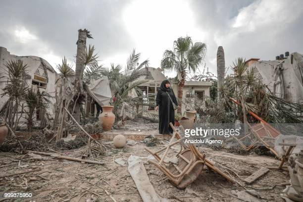Art village and handicrafts building belonging to Gaza municipality are seen after after Israeli fighter jets pounded Al Katiba region in Gaza City...