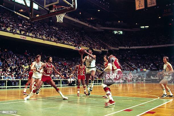 Art Williams of the Boston Celtics goes up for a shot against the Atlanta Hawks during a game played in 1973 at the Boston Garden in Boston...