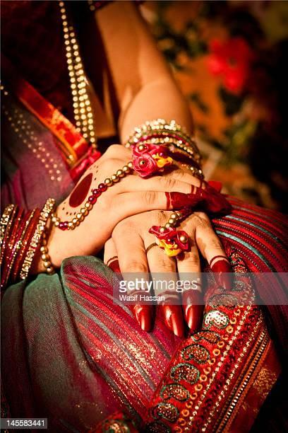 art work and jewellery - bangladeshi wedding stock photos and pictures