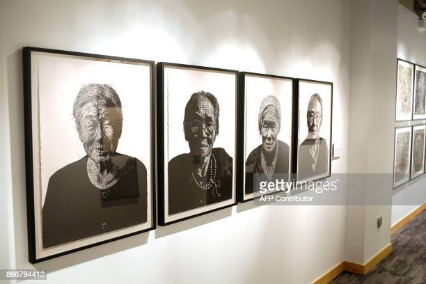 Art work by WonChul Jung is displayed at the Take A Stand Center at the Illinois Holocaust Museum Education Center on October 26 2017 in Skokie...
