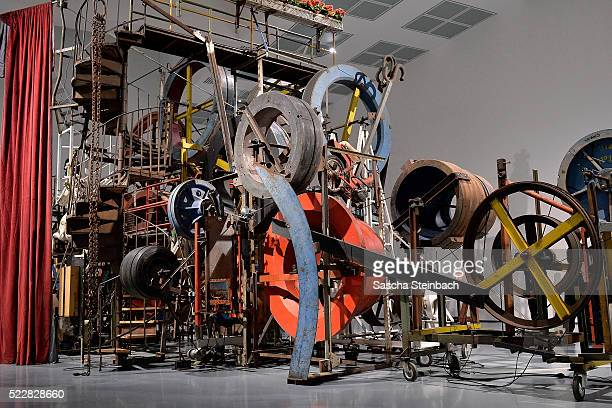 Art work of Jean Tinguely is seen prior to the 'Jean Tinguely. Super Meta Maxi' exhibition at Museum Kunstpalast on April 21, 2016 in Duesseldorf,...