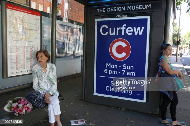 Art work on a bus shelter opposite the Design useum, London, Unted Kingdom, August 02 2018. The Design Museum hosted an event by Leonardo, the ninth...