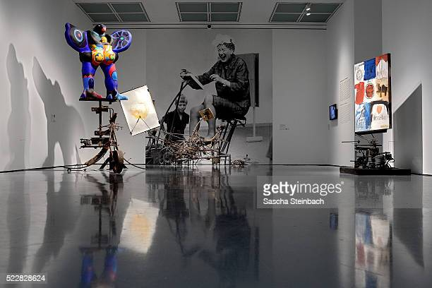 Art works of Jean Tinguely are seen prior to the 'Jean Tinguely. Super Meta Maxi' exhibition at Museum Kunstpalast on April 21, 2016 in Duesseldorf,...