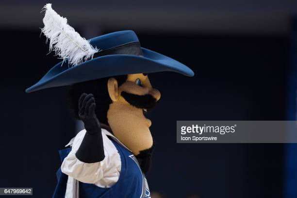 Artagnan the Musketeer on the court during the men's college basketball game between the Butler Bulldogs and Xavier Musketeers on February 26 at the...