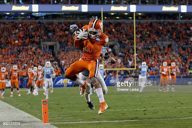 Artavis Scott of the Clemson Tigers catches a touchdown against the North Carolina Tar Heels in the 3rd quarter during the Atlantic Coast Conference...