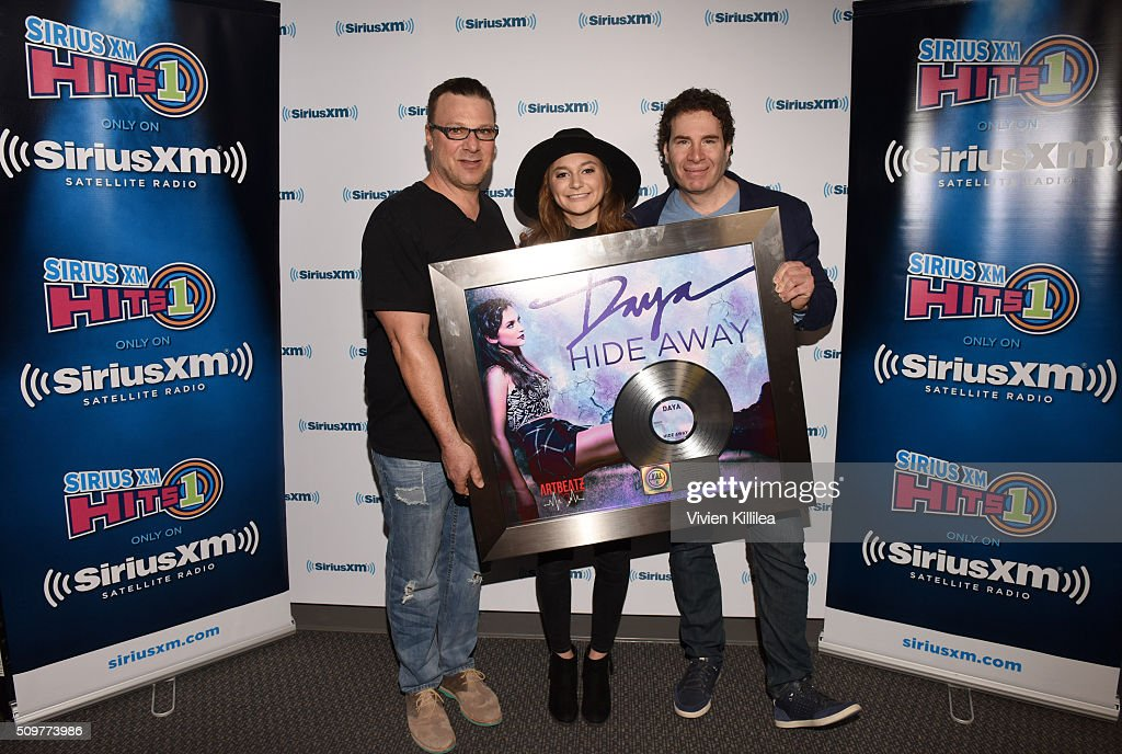 Artbeatz founder Steve Zap, singer Daya and VP of Pop Programming at SiriusXM Kid Kelly attend SiriusXM Hits 1's The Morning Mash Up Broadcast From The SiriusXM Studios In Los Angeles on February 12, 2016 in Los Angeles, California.
