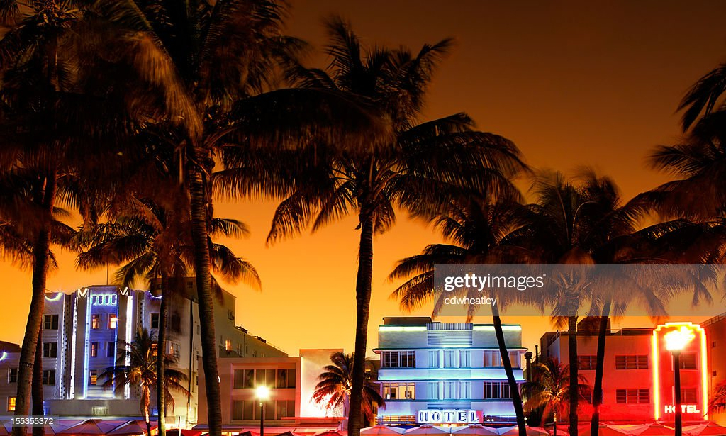 art-deco hotels and restaurants in South Beach, Miami during sunset : Stock Photo