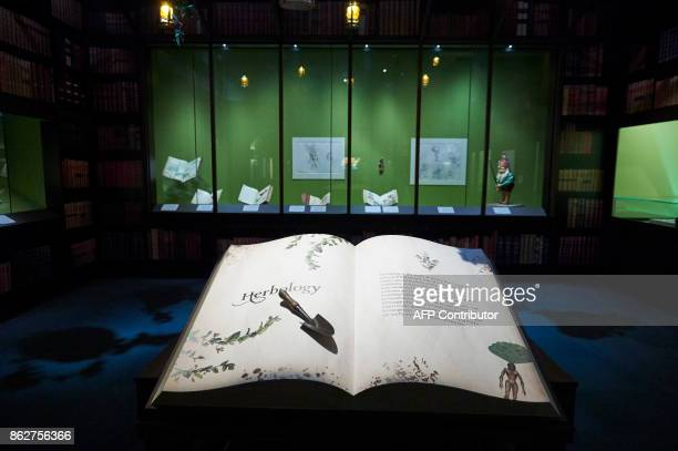 Artefacts and memorabilia are displayed during a preview of 'Harry Potter A History of Magic' exhibition at the British Library in central London on...