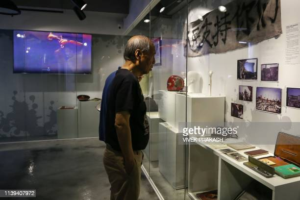 Artefacts recovered from the scene of the 1989 Tiananmen Square massacre, including bullets, are displayed at the June 4 Museum in Hong Kong on April...