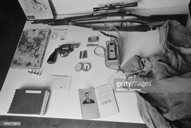 Artefacts relating to the assassination of John F Kennedy in 1963 on display at the National Archives in Washington DC 1979 They include a sniper...
