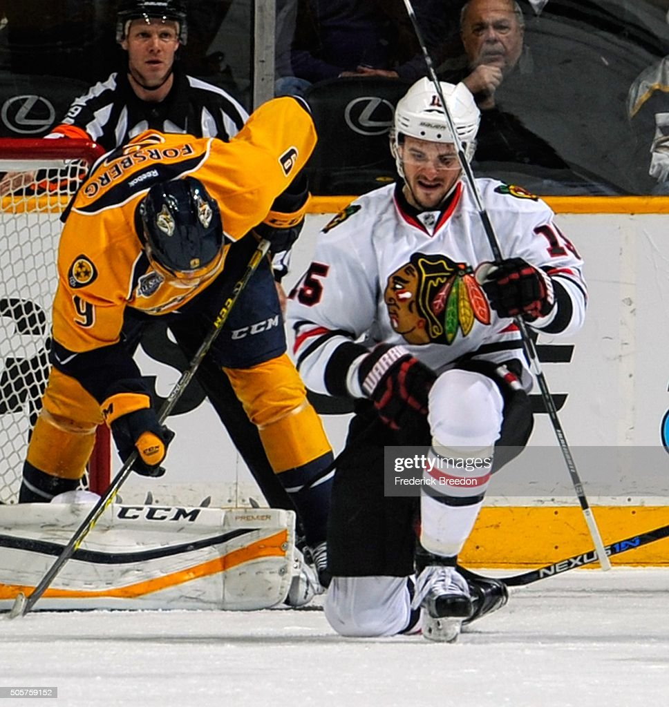 Artem Anisimov #15 of the Chicago Blackhawks pumps his fist after scoring a goal against the Nashville Predators during the first period at Bridgestone Arena on January 19, 2016 in Nashville, Tennessee.