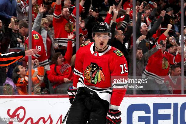 Artem Anisimov of the Chicago Blackhawks reacts after scoring against the Philadelphia Flyers in the second period at the United Center on November 1...