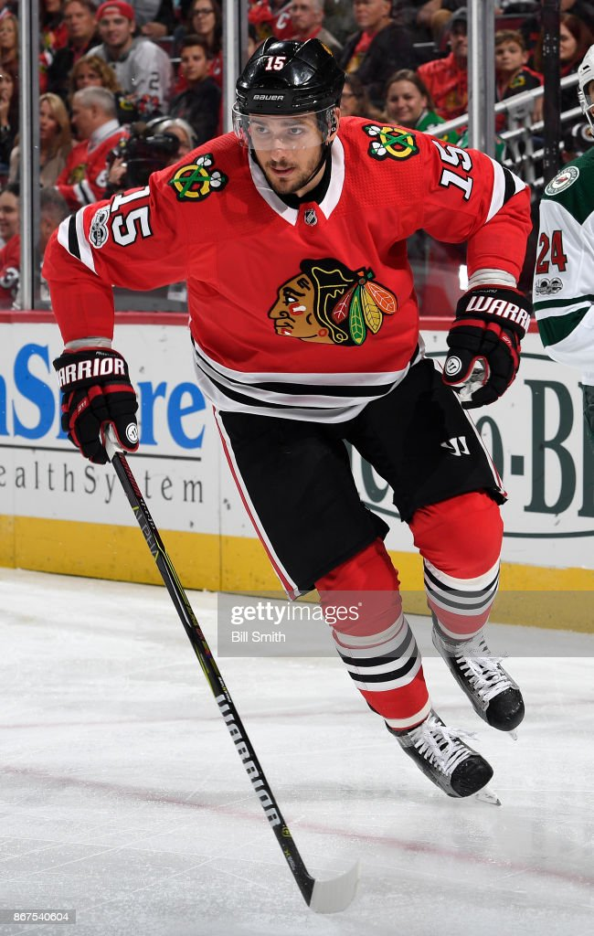 Artem Anisimov #15 of the Chicago Blackhawks skates in the first period against the Minnesota Wild at the United Center on October 12, 2017 in Chicago, Illinois. The Minnesota Wild defeated the Chicago Blackhawks 5-2.
