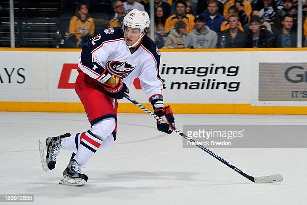 Artem Anisimov of the Columbus Blue Jackets plays against the Nashville Predators at Bridgestone Arena on January 19 2013 in Nashville Tennessee