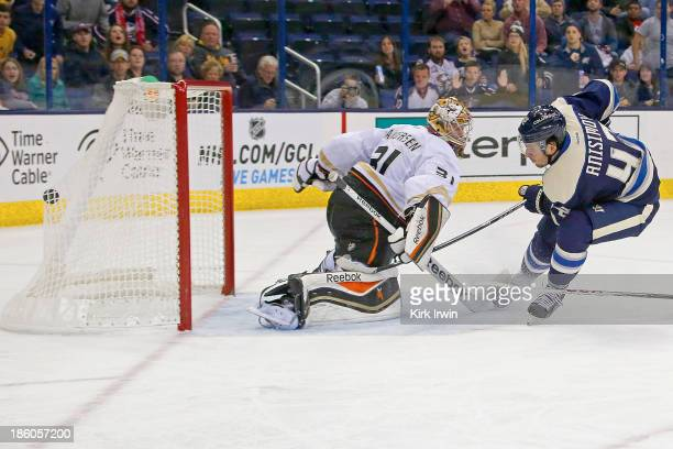 Artem Ansimov of the Columbus Blue Jackets beats Frederik Anderson of the Anaheim Ducks for a shorthanded goal during the second period on October...