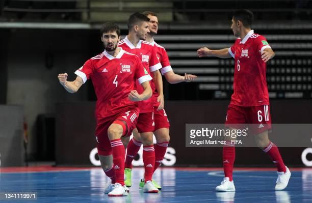 Artem Antoshkin of RFU celebrates scoring his teams fourth goal of the match during the FIFA Futsal World Cup 2021 group B match between Guatemala...