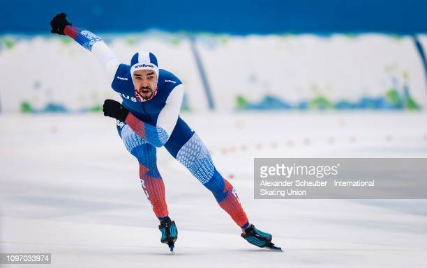 Artem Arefyev of Russia competes in the Mens 500m sprint race during the ISU Junior World Cup Speed Skating Final Day 2 on February 9 2019 in Trento...