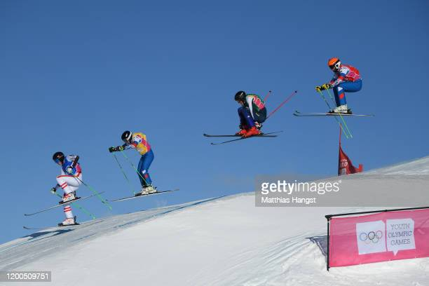 Artem Bazhin of Russia, Marcus Plank of Austria, Erik Wahlberg of Sweden and Andrei Gorbachev of Russia compete in Men's ski cross Final in freestyle...