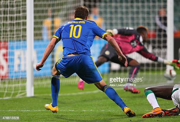 Artem Biesiedin of Ukraine scores the opening goal during the FIFA U20 World Cup round of 16 match between Ukraine and Senegal at the North Harbour...
