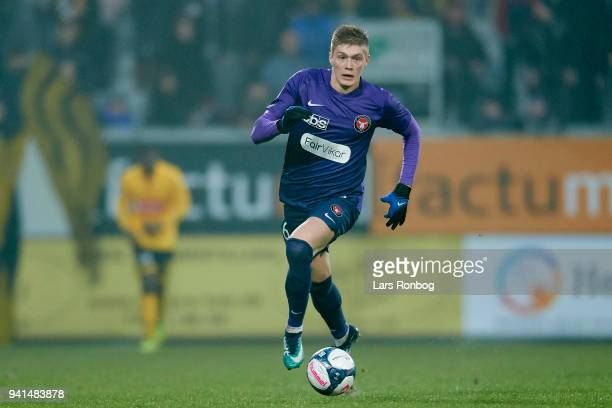 Artem Dovbyk of FC Midtjylland controls the ball during the Danish Alka Superliga match between AC Horsens and FC Midtjylland at CASA Arena Horsenas...