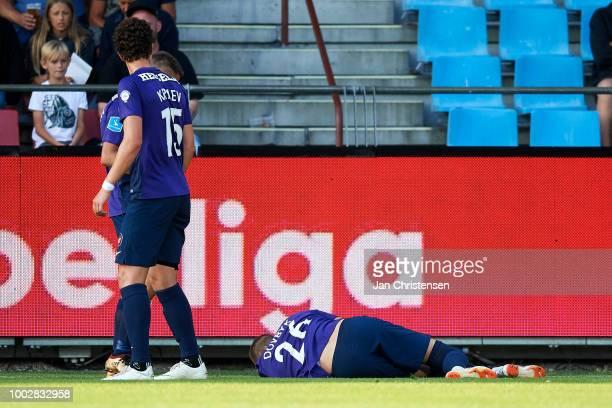 Artem Dovbyk of FC Midtjylland get an injury during the Danish Superliga match between AaB Aalborg and FC Midtjylland at Aalborg Portland Park on...