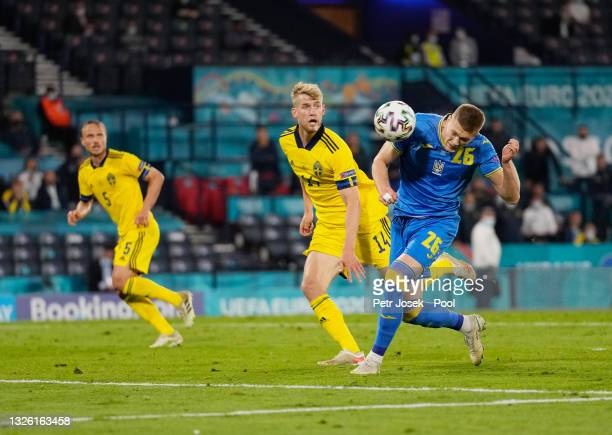 Artem Dovbyk of Ukraine scores their side's second goal during the UEFA Euro 2020 Championship Round of 16 match between Sweden and Ukraine at...
