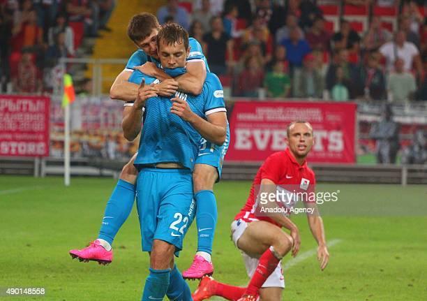 Artem Dzuba and Denis Tkachuk of Zenit StPetersburg celebrate the goal of Zenit during the Russian Footbal PremierLeague match between Spartak Moscow...