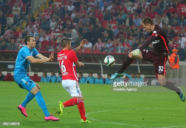 Artem Dzuba of Zenit StPetersburg and Salvatore Boketti Artem Rebrov of Spartak Moscow in action during the Russian Footbal PremierLeague match...
