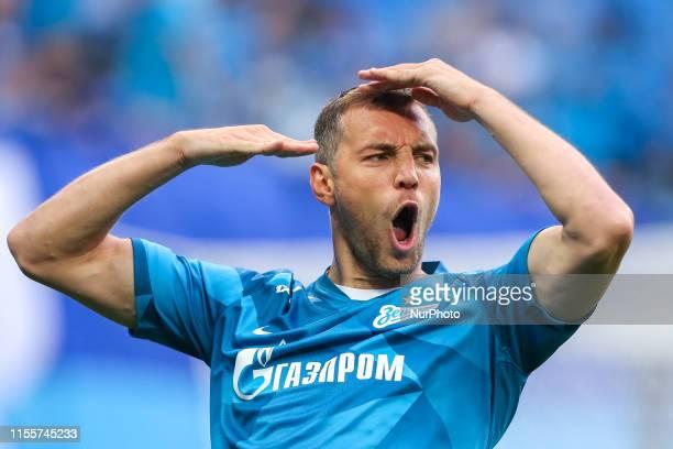 Artem Dzyuba of FC Zenit Saint Petersburg celebrates his goal during the Russian Premier League match between FC Tambov and FC Zenit St. Petersburg...