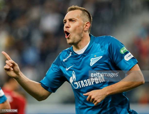 Artem Dzyuba of FC Zenit Saint Petersburg celebrates his goal during the Russian Premier League match between FC Zenit Saint Petersburg and FC Rubin...