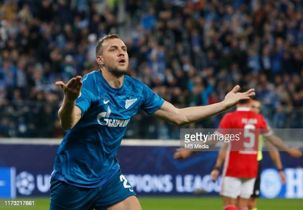Artem Dzyuba of FC Zenit Saint Petersburg celebrates his goal during the UEFA Champions League group G match between Zenit St. Petersburg and SL...