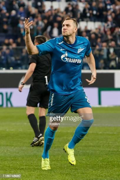 Artem Dzyuba of FC Zenit Saint Petersburg celebrates his goal during the Russian Premier League match between FC Zenit Saint Petersburg and FC Dynamo...