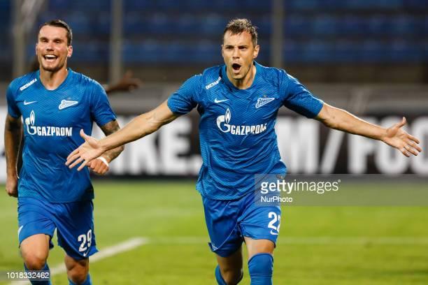 Artem Dzyuba of FC Zenit Saint Petersburg celebrates his goal with Anton Zabolotny during the UEFA Europa League third qualifying round second leg...