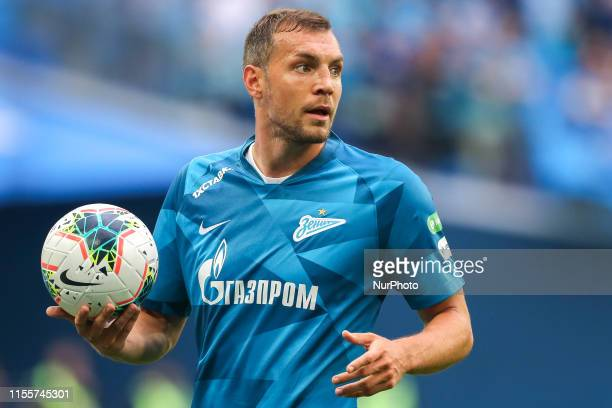 Artem Dzyuba of FC Zenit Saint Petersburg hold the ball during the Russian Premier League match between FC Tambov and FC Zenit St. Petersburg at the...