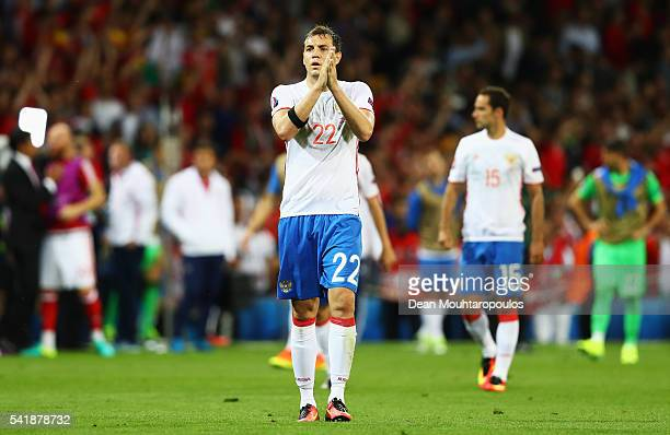 Artem Dzyuba of Russia applauds after the UEFA EURO 2016 Group B match between Russia and Wales at Stadium Municipal on June 20 2016 in Toulouse...