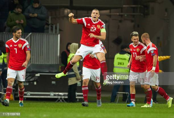 Artem Dzyuba of Russia celebrates his goal during the UEFA Euro 2020 qualifier between Russia and Scotland on October 10, 2019 in Moscow, Russia.