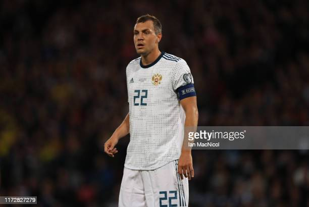 Artem Dzyuba of Russia looks on during the UEFA Euro 2020 qualifier between Scotland and Russia at Hampden Park on September 06, 2019 in Glasgow,...