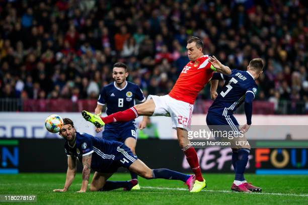 Artem Dzyuba of Russia scores his 2nd goal during the UEFA Euro 2020 qualifier group I match between Russia and Scotland at Luzhniki Stadium on...