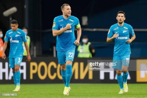 Artem Dzyuba of Zenit celebrates his goal during the Russian Premier League match between FC Zenit Saint Petersburg and FC Sochi on October 3, 2021...